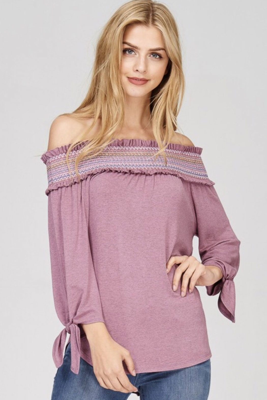Tracie's Off The Shoulder Mauve Top - Main Image