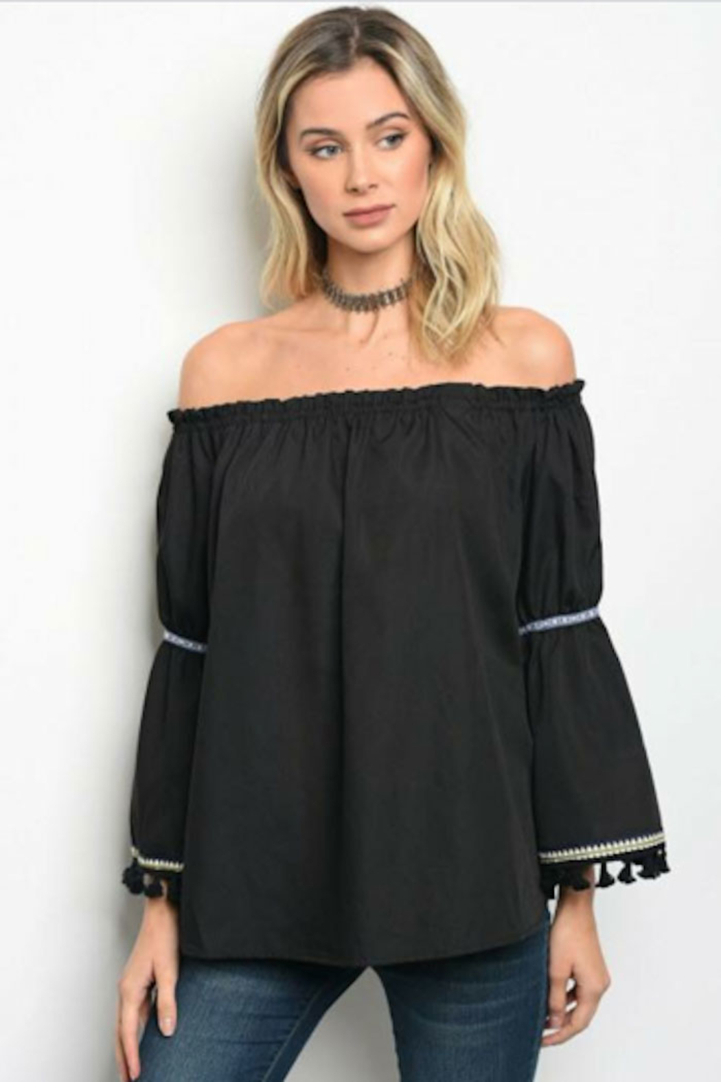Tracie's Off The Shoulder Pom Pom Top - Main Image