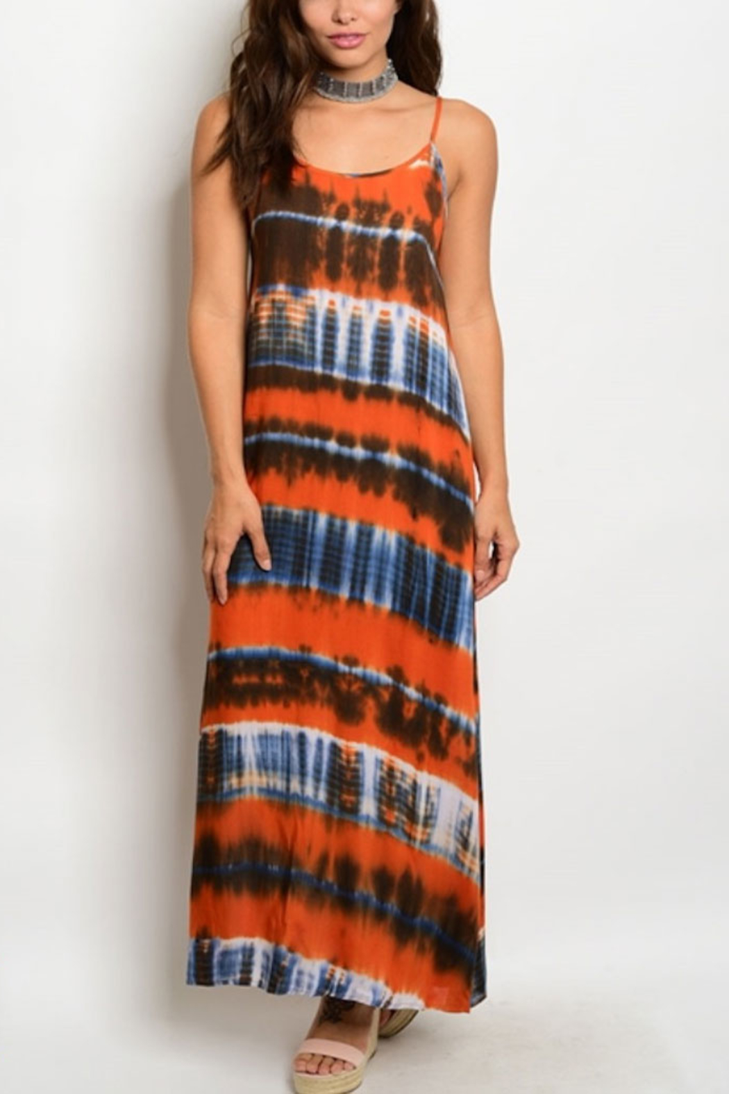Tracie's Orange Tye-Dye Maxi Dress - Main Image