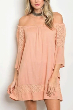 Tracie's Peach Off The Shoulder Lace Dress - Product List Image