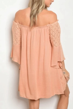 Tracie's Peach Off The Shoulder Lace Dress - Alternate List Image