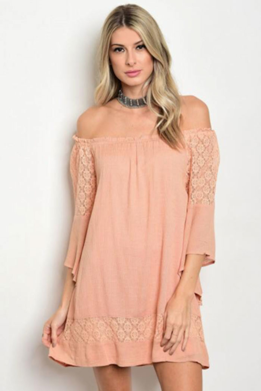 Tracie's Peach Off The Shoulder Lace Dress - Main Image
