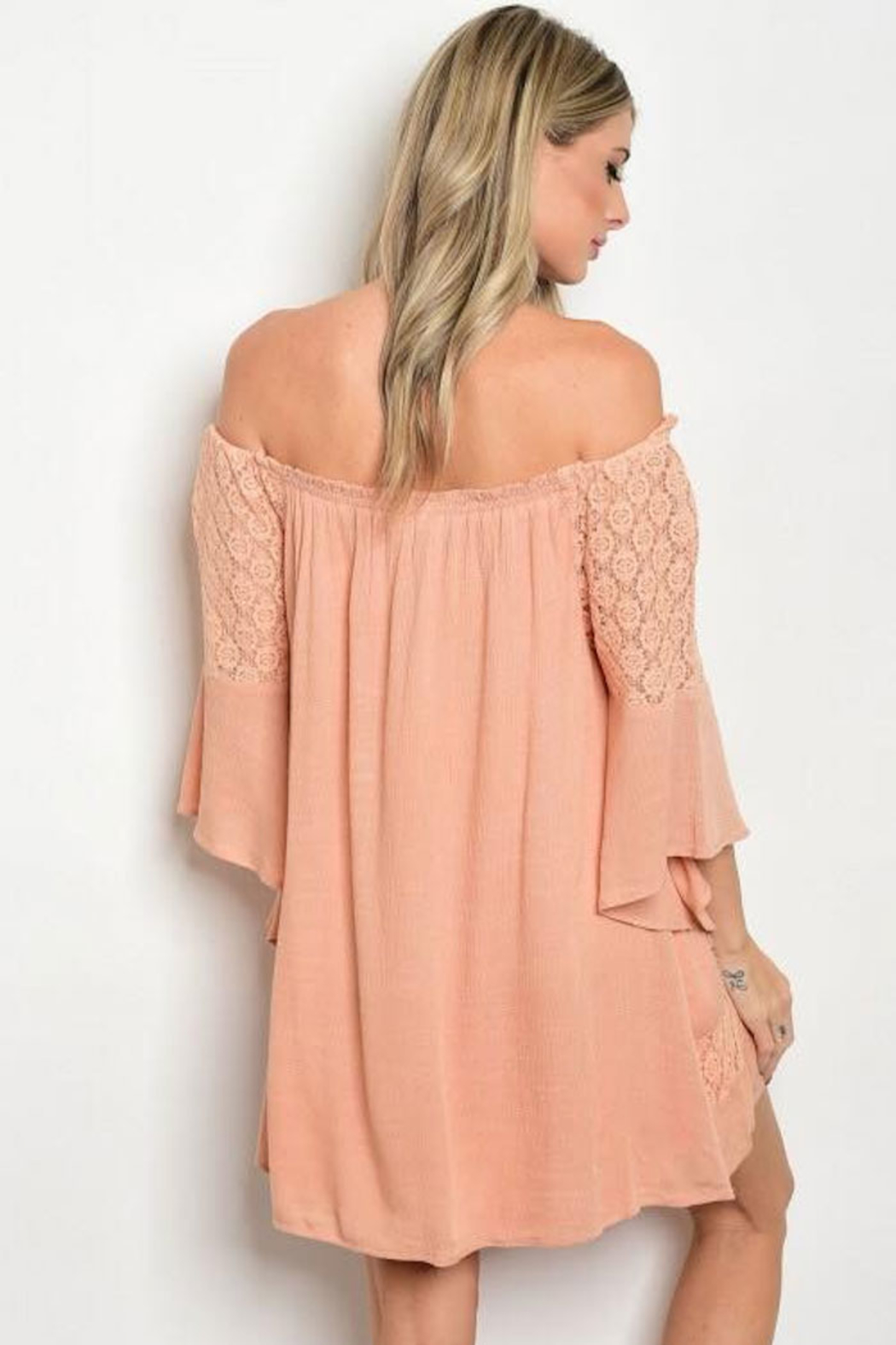 Tracie's Peach Off The Shoulder Lace Dress - Back Cropped Image