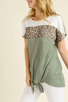 Tracie's Spring Leopard Top With Tie - Alternate List Image