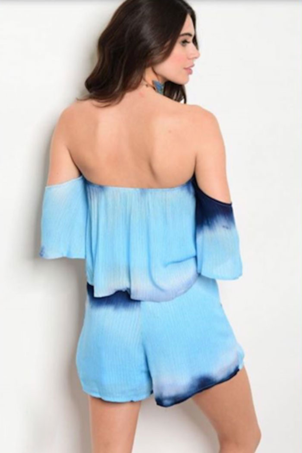 Tracie's Tie Dye Blue Romper - Back Cropped Image