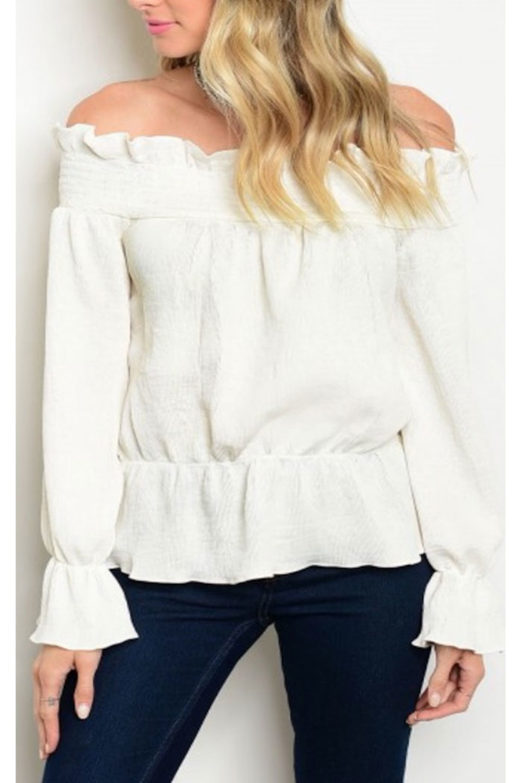 Tracie's White Ruffle Off The Shoulder Top - Main Image