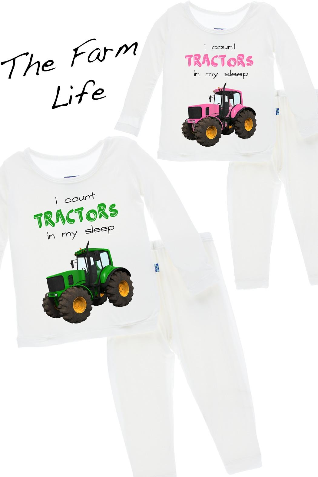 Kickee Pants Tractor Long-Sleeve Pajama-Set - Main Image