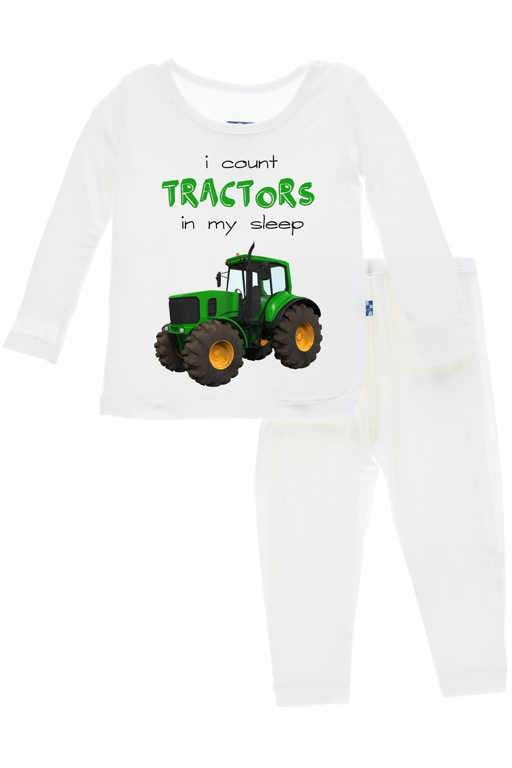 Kickee Pants Tractor Long-Sleeve Pajama-Set - Front Full Image