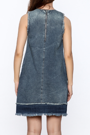 Tractr Denim Frayed Shift Dress - Back cropped