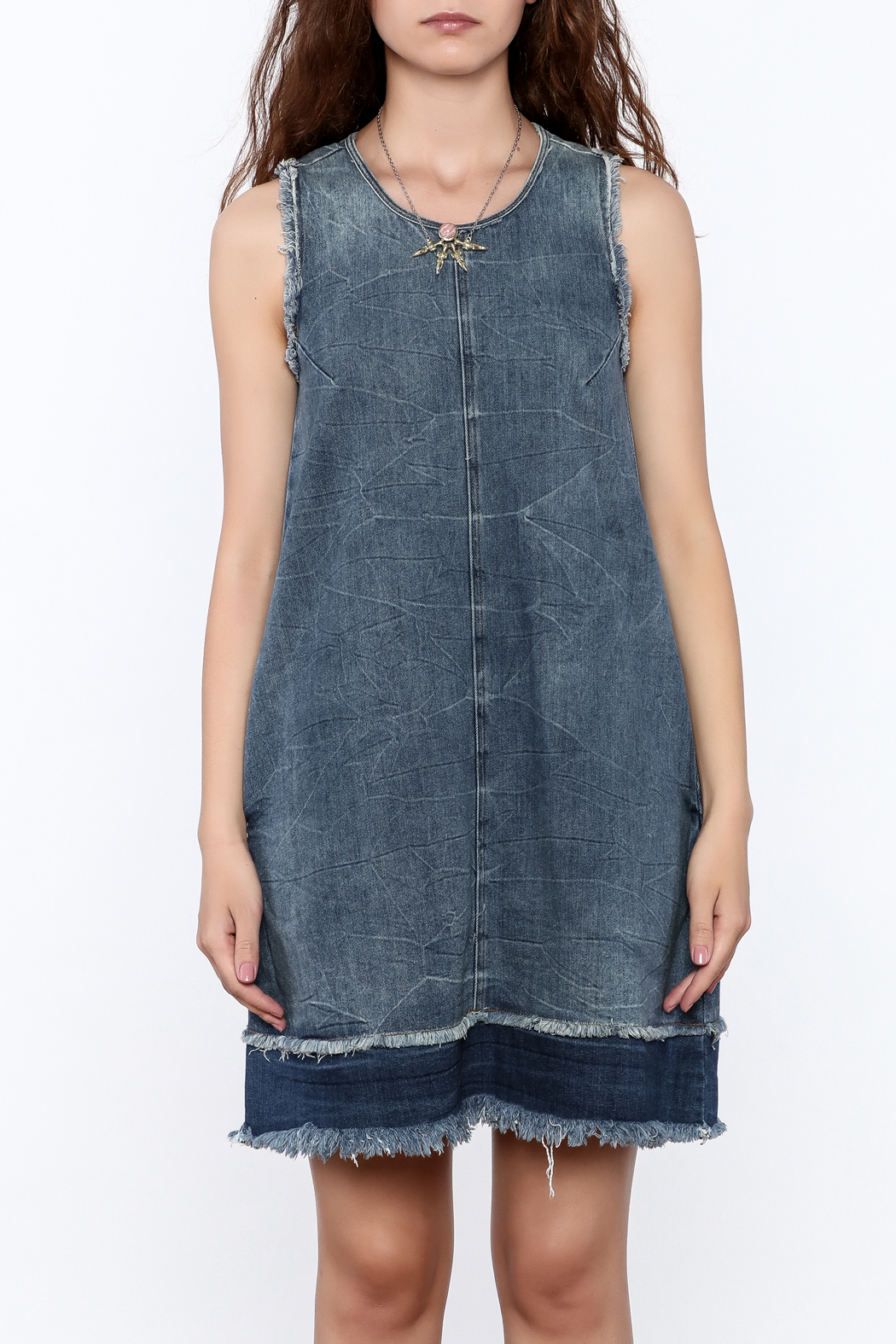 Tractr Denim Frayed Shift Dress - Side Cropped Image
