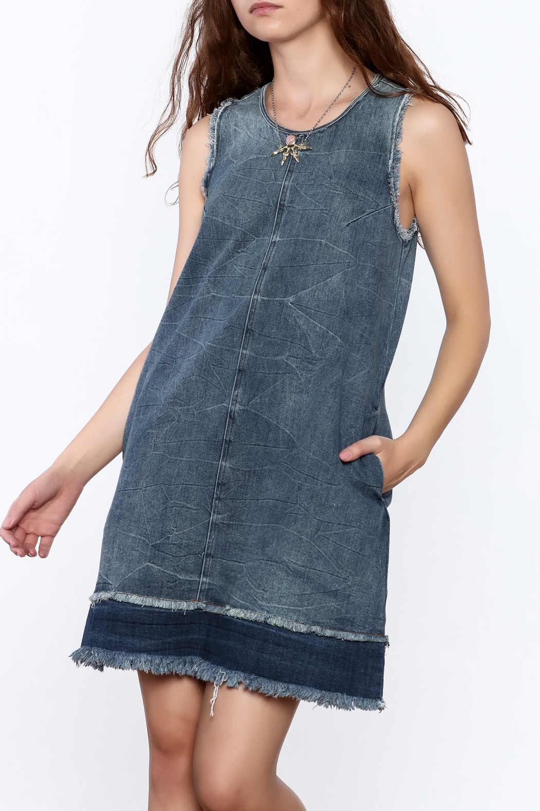 Tractr Denim Frayed Shift Dress - Front Cropped Image