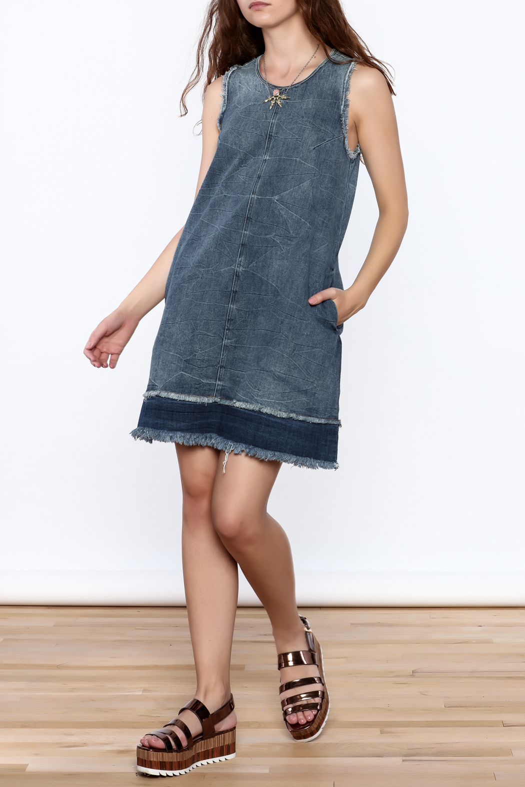 Tractr Denim Frayed Shift Dress - Front Full Image