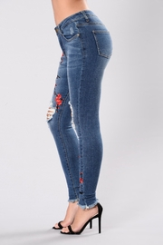 Tractr Embroidered Distressed Denim Jeans - Front full body