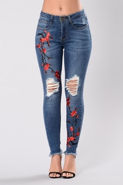 Tractr Embroidered Distressed Denim Jeans - Side cropped