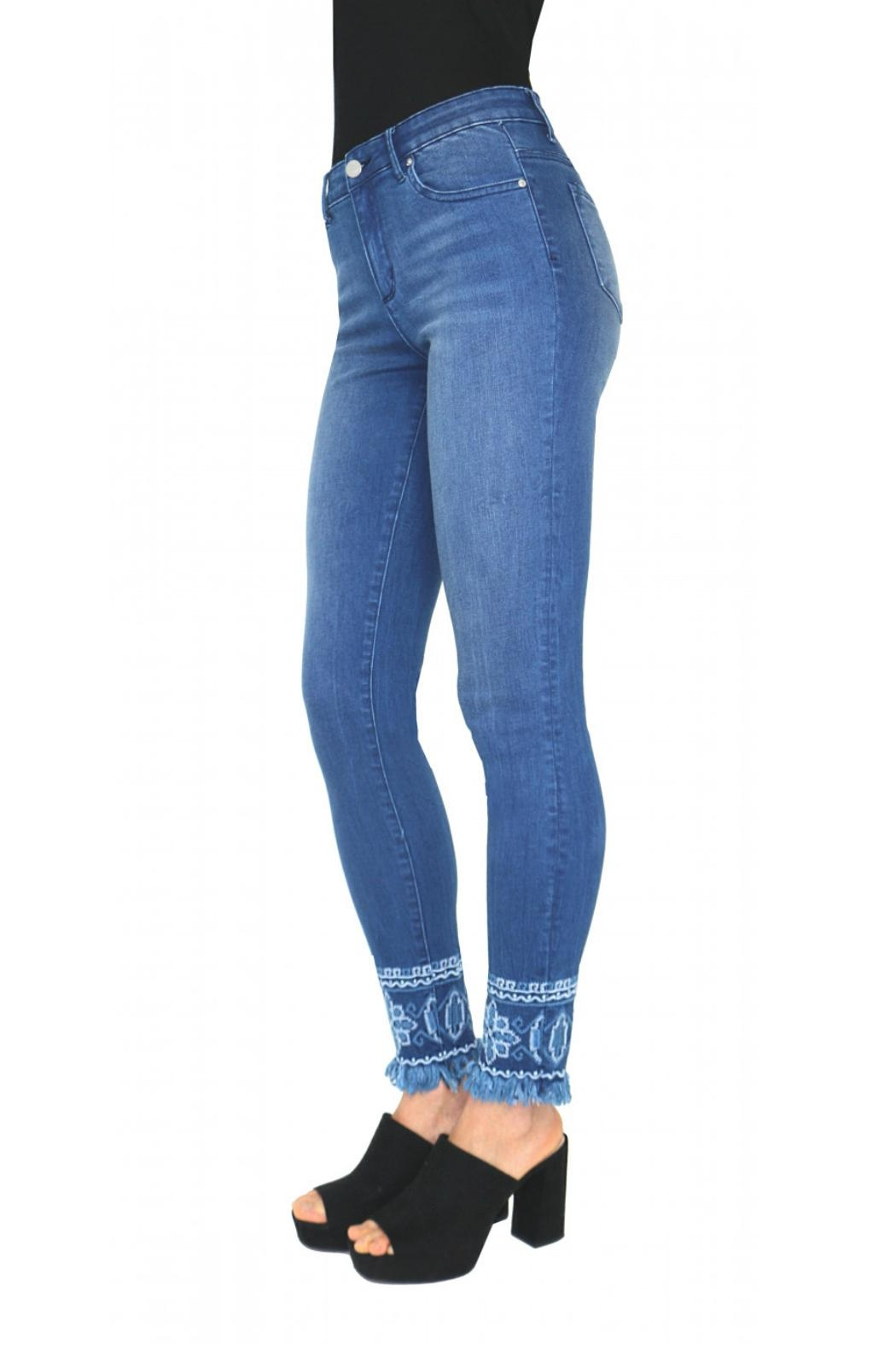 Tractr Embroidered Hem Jean - Front Full Image