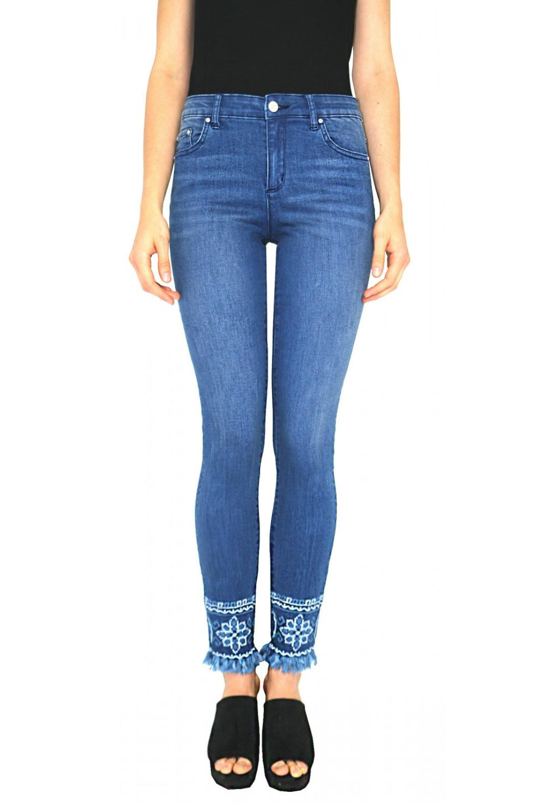 Tractr Embroidered Hem Jean - Main Image