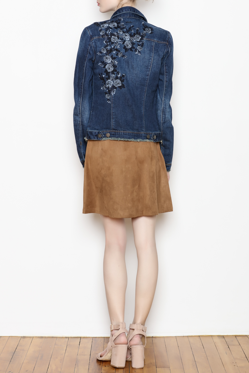 Tractr Floral Embroidered Jacket - Back Cropped Image