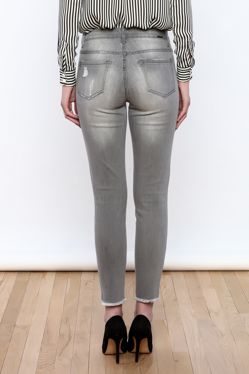 Tractr Gray Distressed Jeans - Back Cropped Image