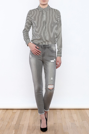 Tractr Gray Distressed Jeans - Front full body