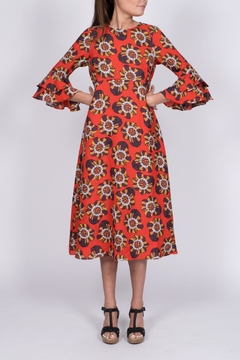 Traffic People Red Floral Midi Dress - Product List Image