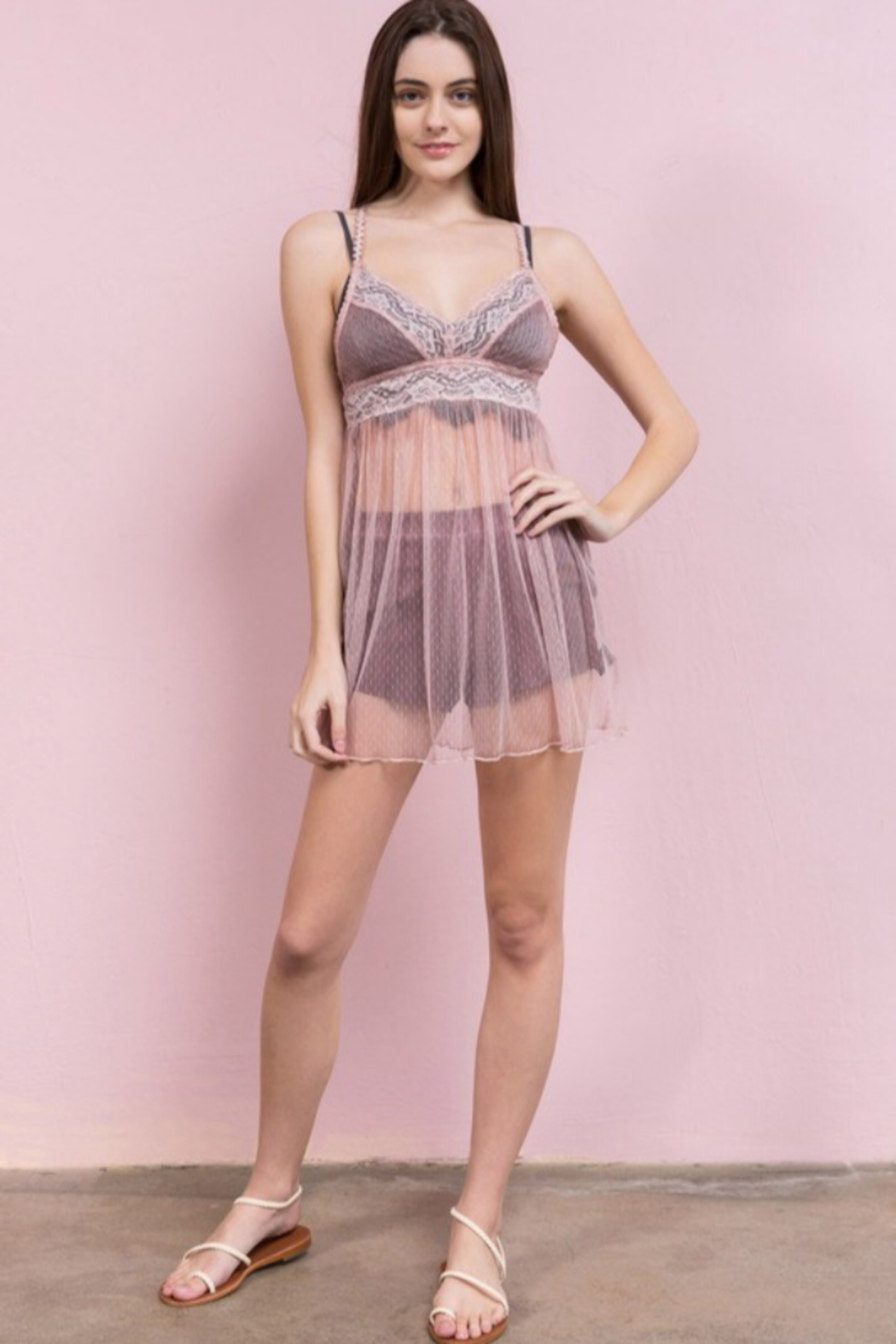 POL Transparent Lace Tunic - Front Full Image