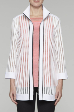 Ming Wang Transparent Lines Jacket in White - Product List Image