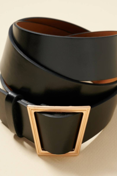 Shoptiques Product: Trapezoid Metal Buckle Faux Leather Belt