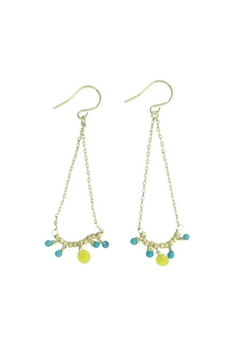 Shoptiques Product: Turqouise & Gold Plated Earrings