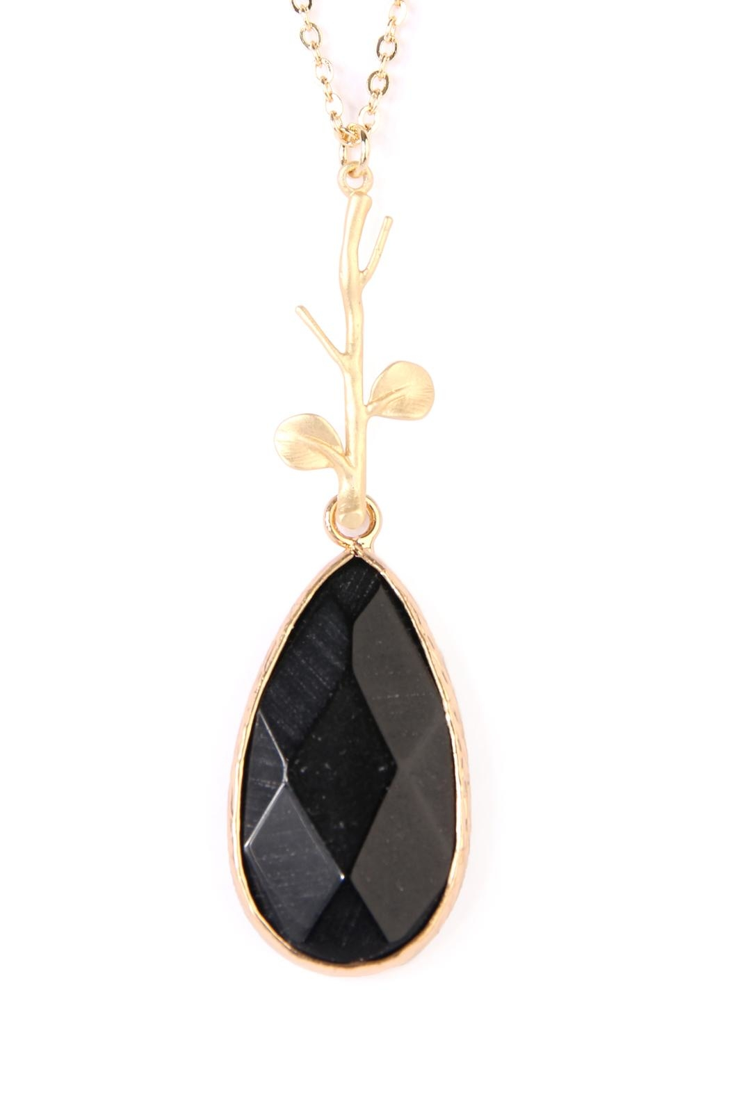 Riah Fashion Tree-Branch-Teardrop Pendant  Necklace - Front Full Image
