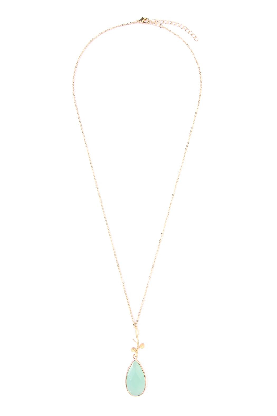 Riah Fashion Tree-Branch-Teardrop Pendant  Necklace - Front Cropped Image