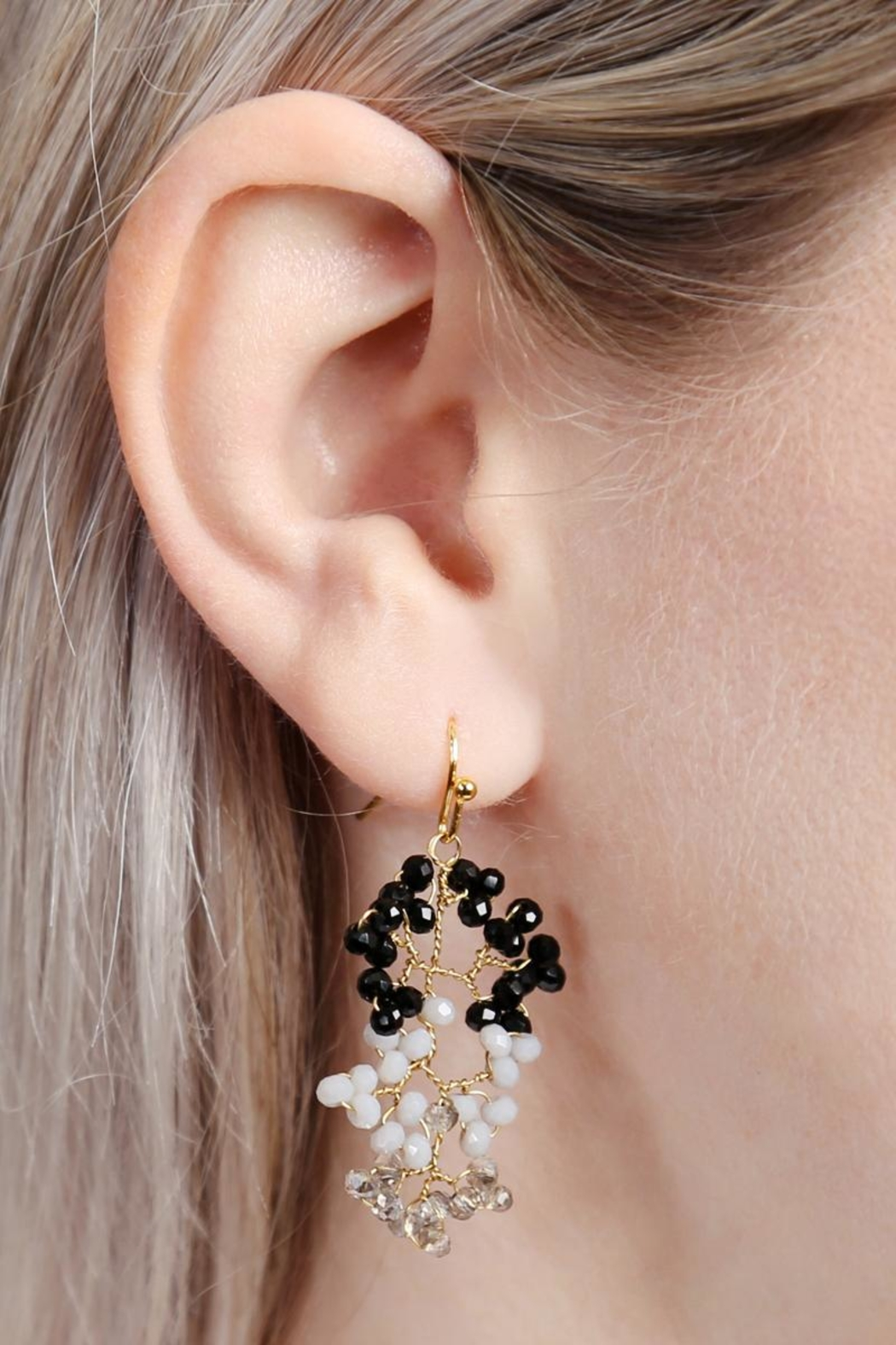 Riah Fashion Tree-Branch-Wired Beaded Earrings - Front Full Image