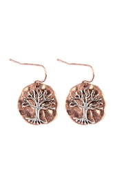 Riah Fashion Tree-Of-Life Plate Drop-Earrings - Product Mini Image