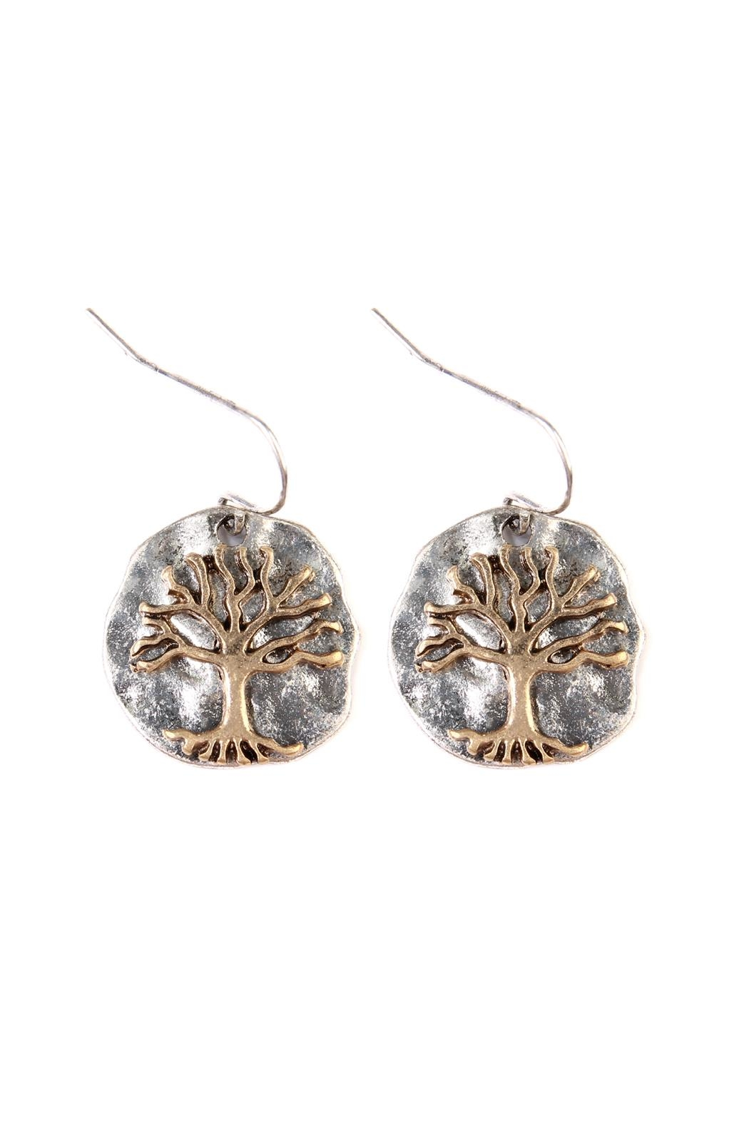 Riah Fashion Tree-Of-Life Plate Drop-Earrings - Front Cropped Image