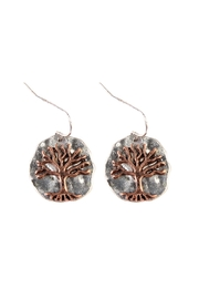 Riah Fashion Tree-Of-Life Plate Drop-Earrings - Front cropped