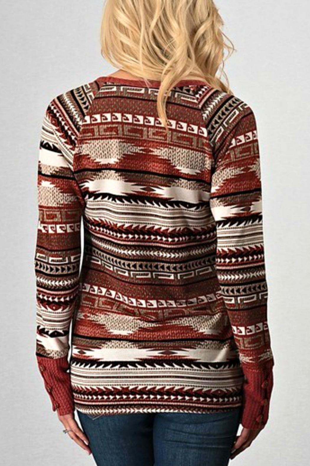 Trend:notes Aztec Waffle Longsleeve - Front Full Image