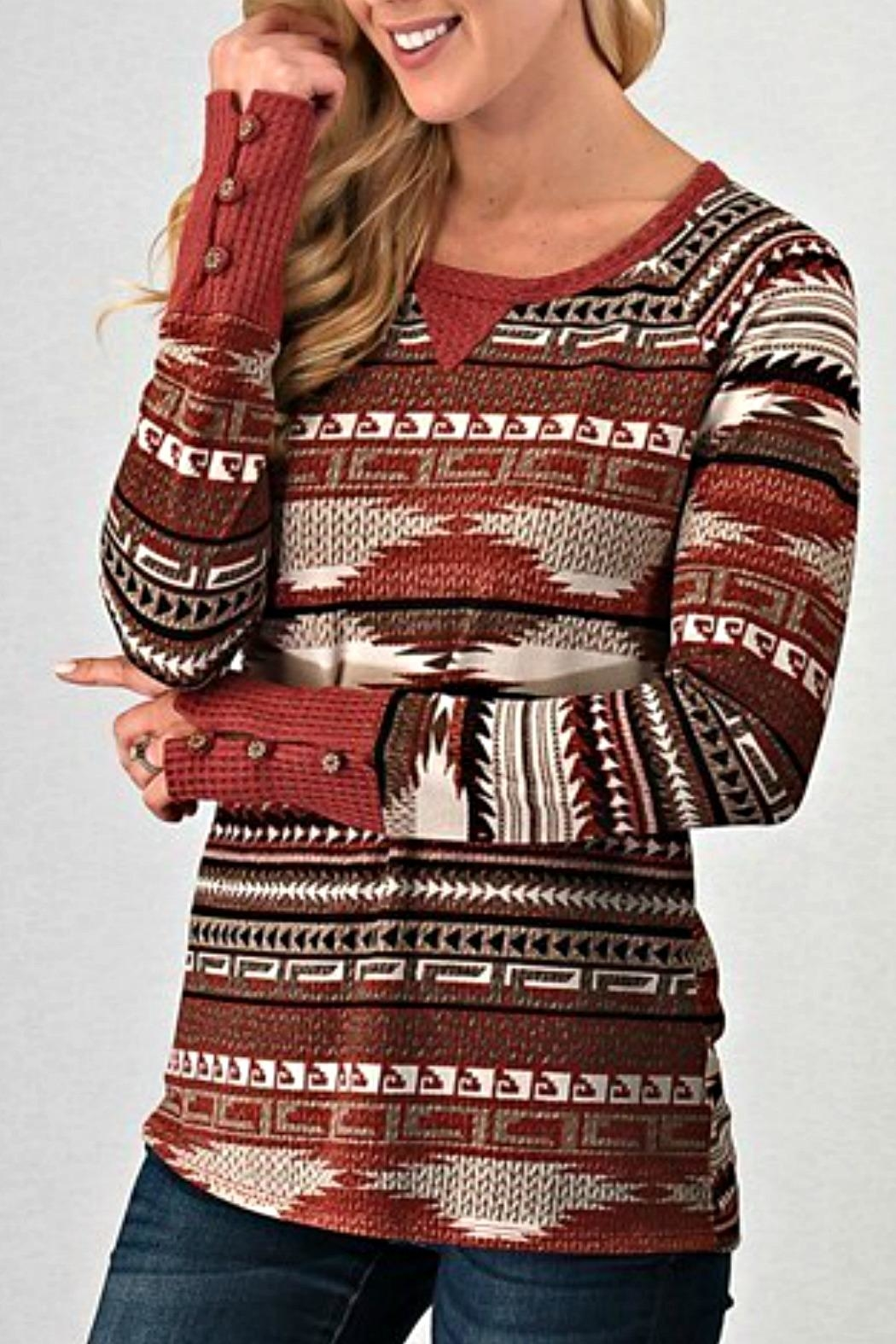 Trend:notes Aztec Waffle Longsleeve - Front Cropped Image