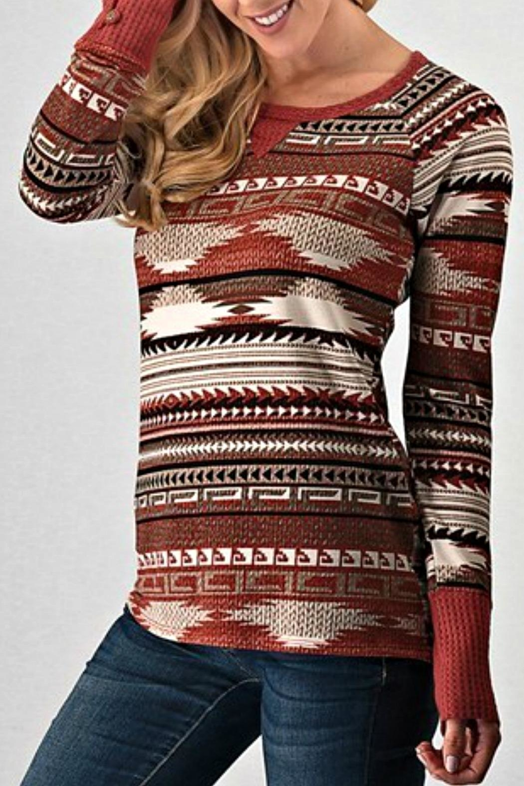 Trend:notes Aztec Waffle Longsleeve - Side Cropped Image