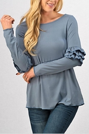 Trend:notes Baby-Ribbed Ruffled-Sleee Top - Front cropped