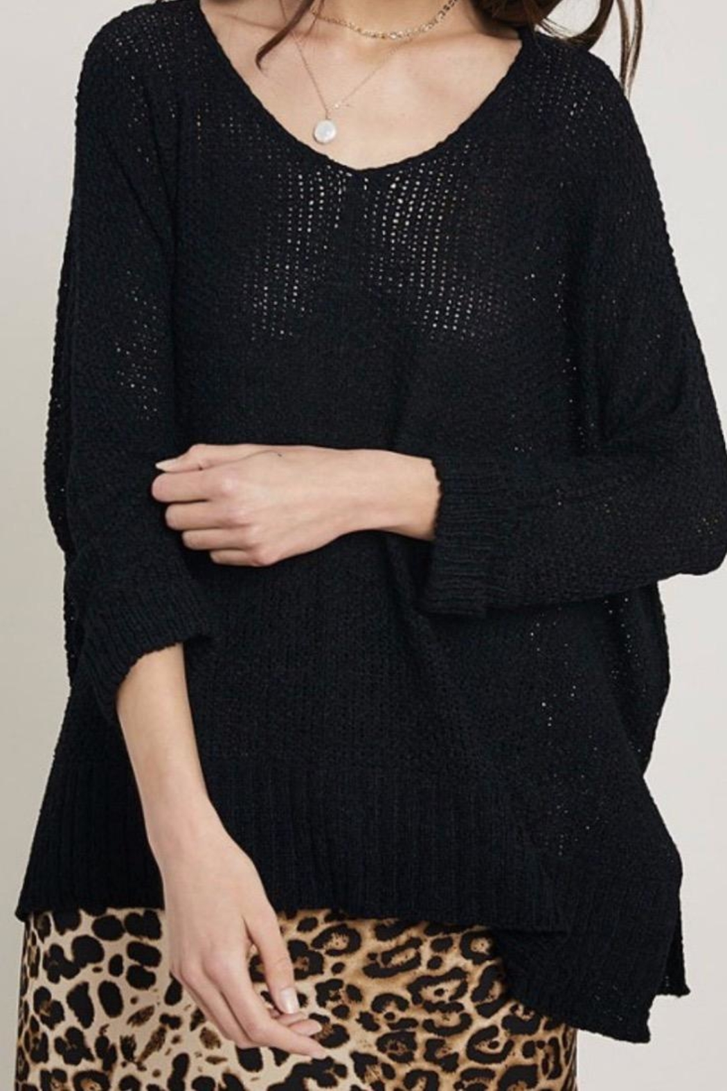 Trend:notes Black Knit Sweater - Main Image