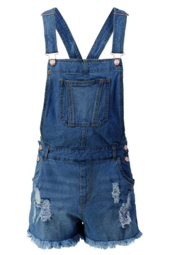 Shoptiques Product: Junior Distressed Overall-Shorts
