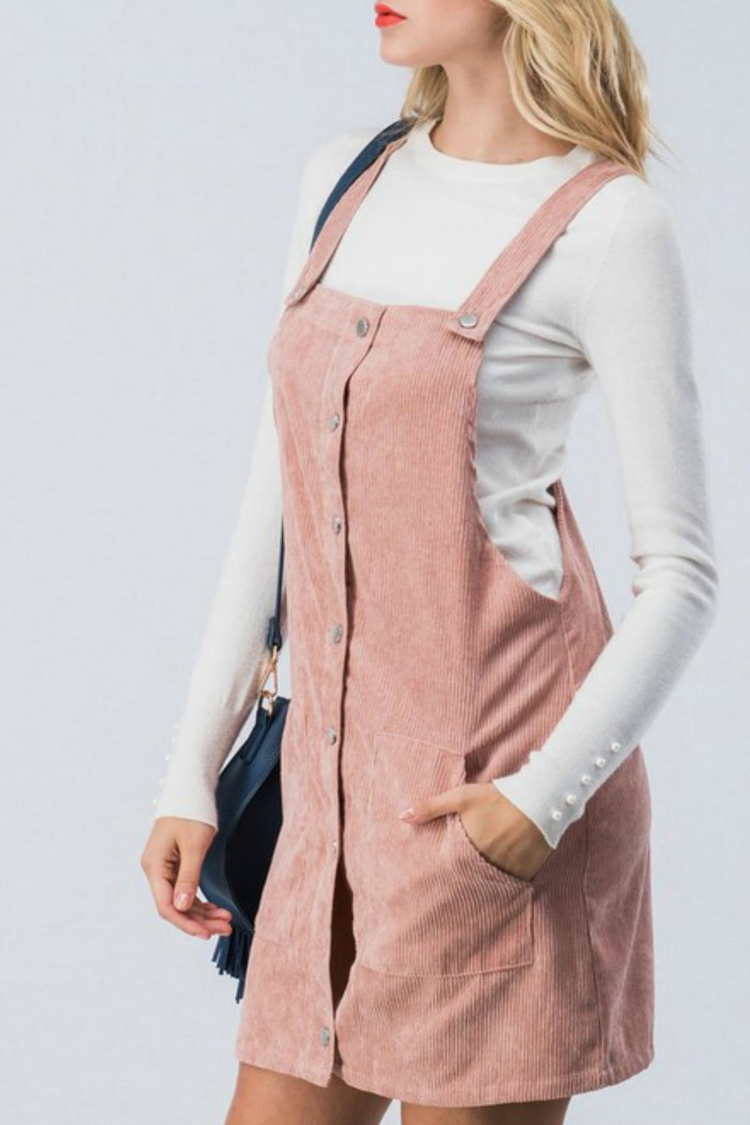 Favlux Corduroy Overall Dress - Front Full Image
