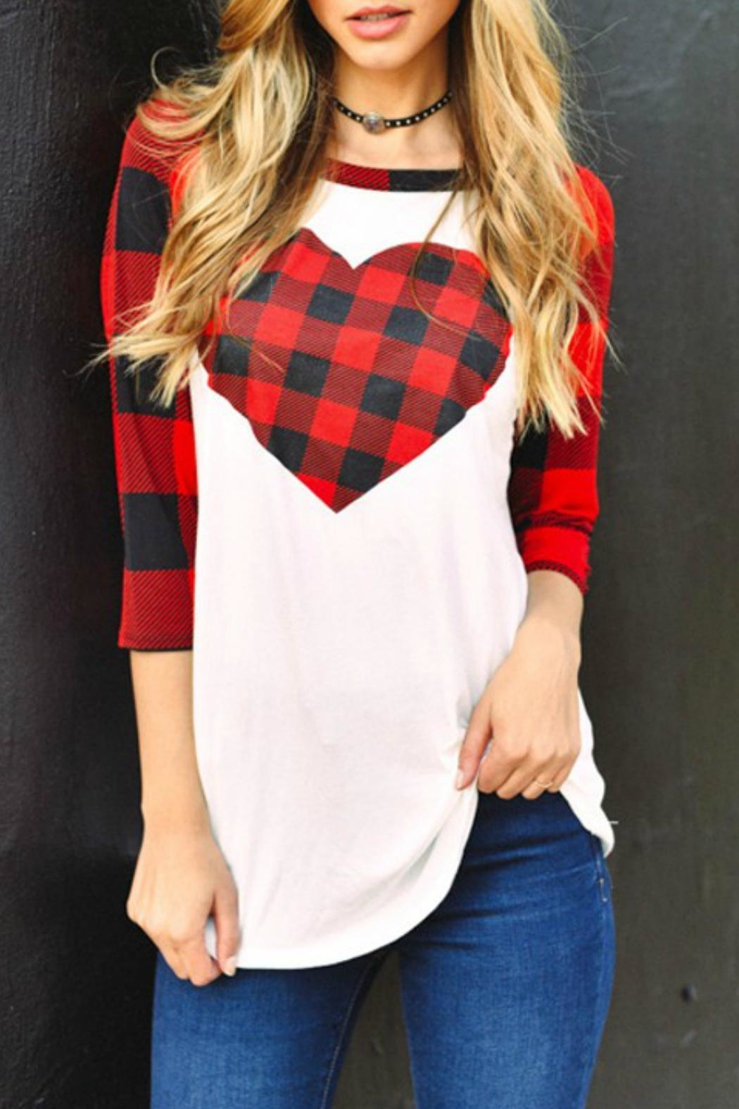 Trend:notes Plaid Heart Tee - Front Cropped Image