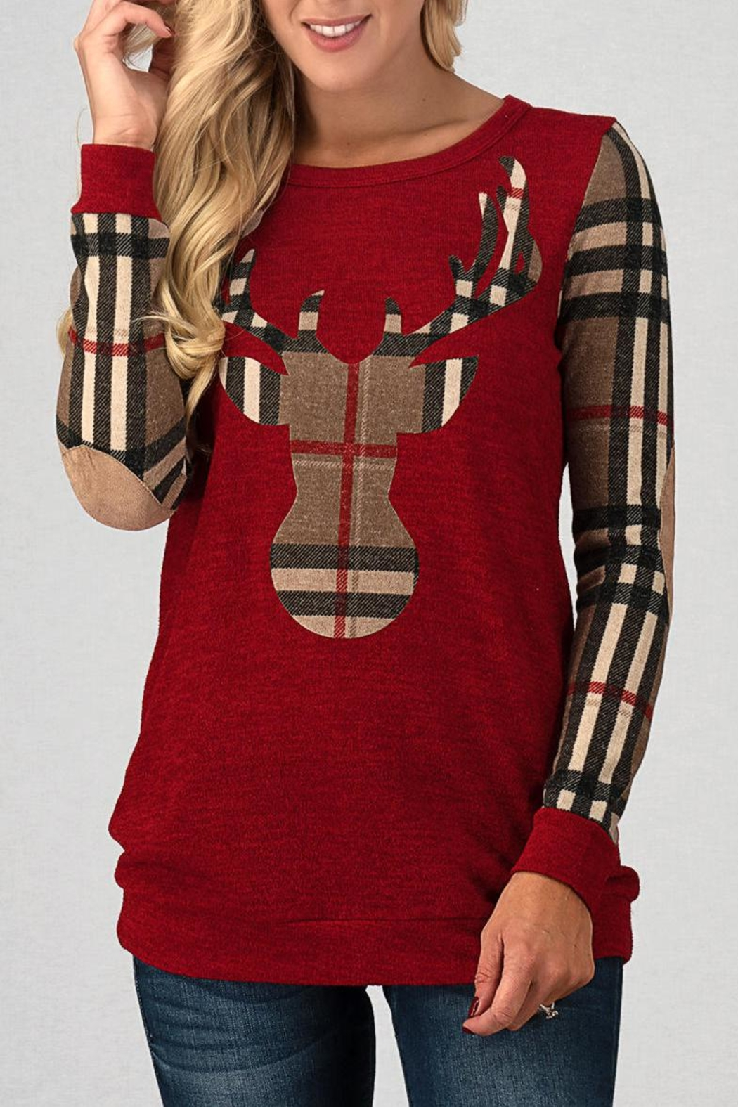 Trend:notes Red Reindeer Top - Main Image