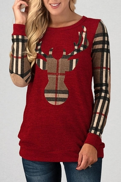 Trend:notes Red Reindeer Top - Product List Image