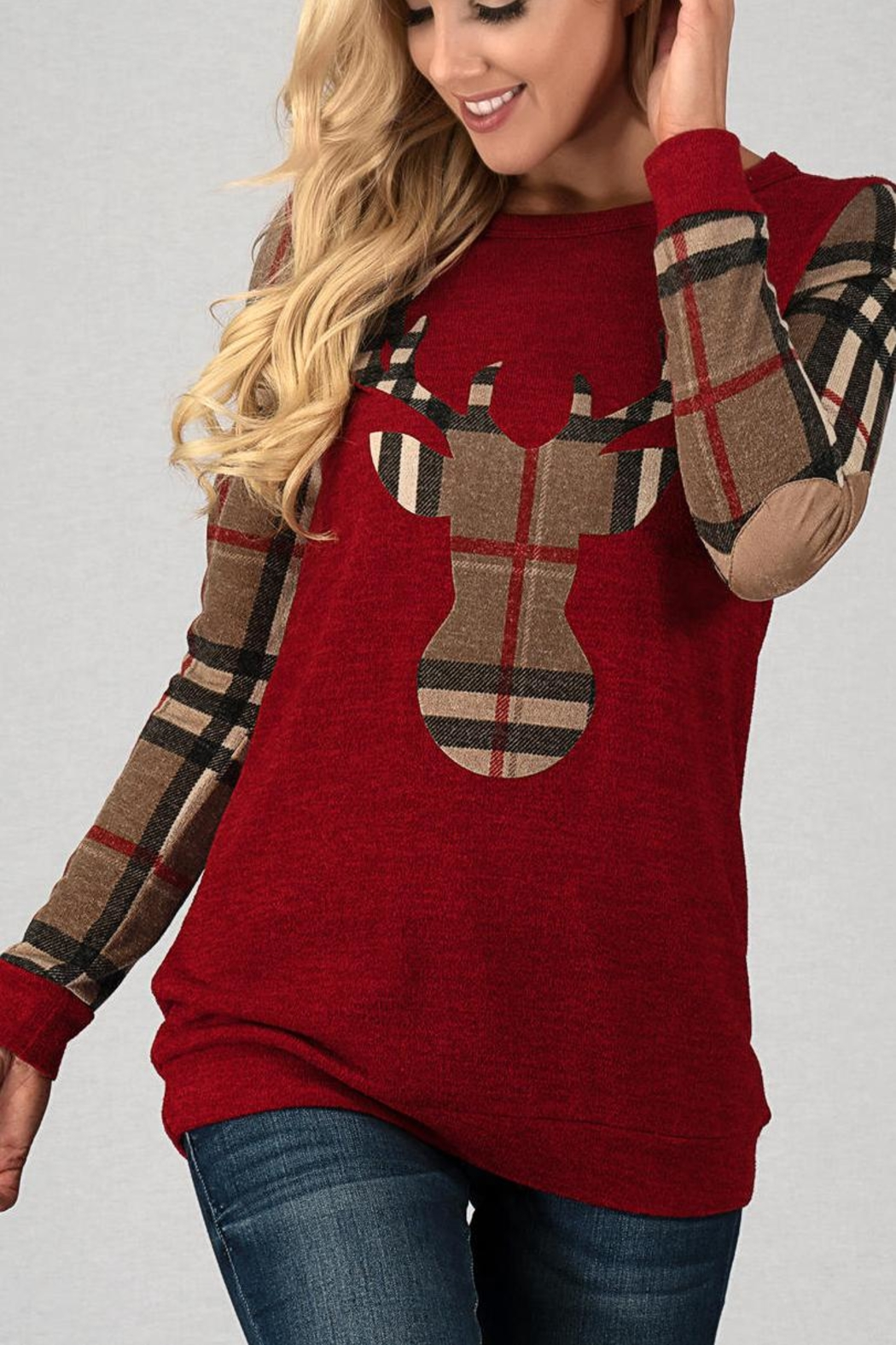 Trend:notes Red Reindeer Top - Side Cropped Image