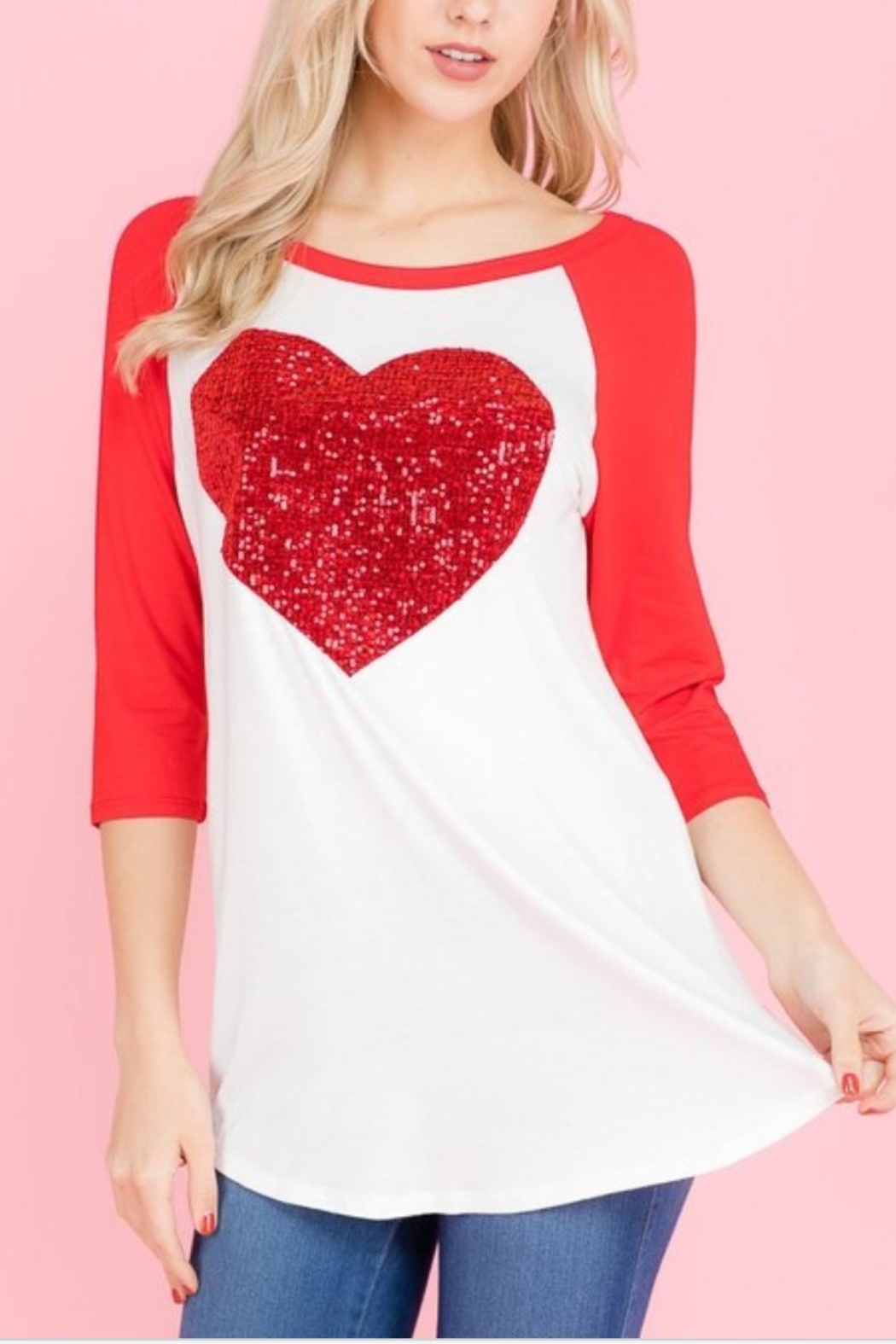 Trend:notes Sequins Heart Top - Main Image
