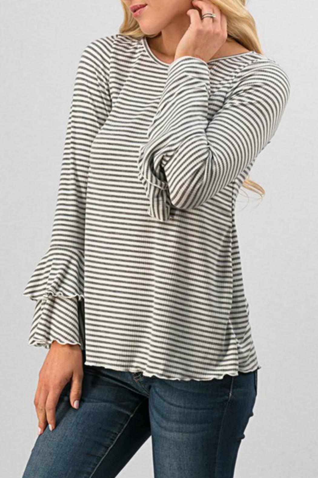 Trend:notes Striped Ruffle Bellsleeve - Main Image