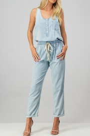 trend notes Chambray Button-Down Jumpsuit - Product Mini Image