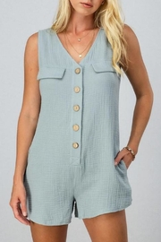 trend notes Gauzy Button-Down Romper - Product Mini Image