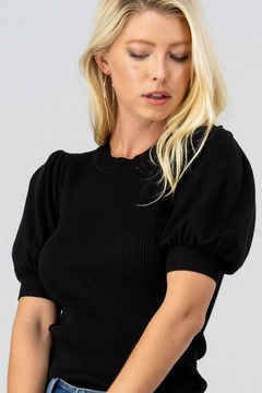 trend notes Knit Puff-Sleeve Top - Product List Image